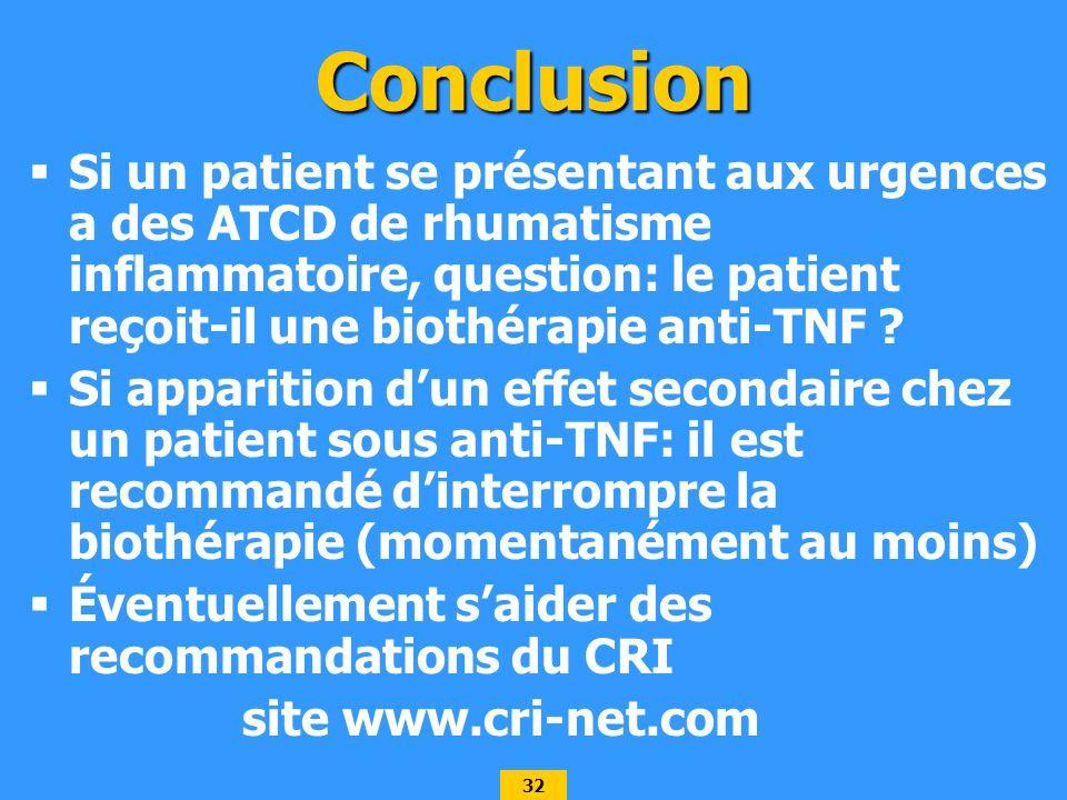 32 Conclusion Si un patient se présentant aux urgences a des ATCD de rhumatisme inflammatoire, question: le patient reçoit-il une biothérapie anti-TNF .