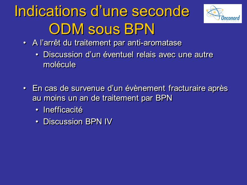 Indications dune seconde ODM sous BPN A larrêt du traitement par anti-aromatase Discussion dun éventuel relais avec une autre molécule En cas de surve