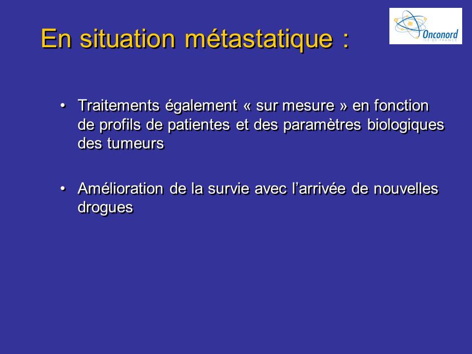 En situation métastatique : Traitements également « sur mesure » en fonction de profils de patientes et des paramètres biologiques des tumeurs Amélior