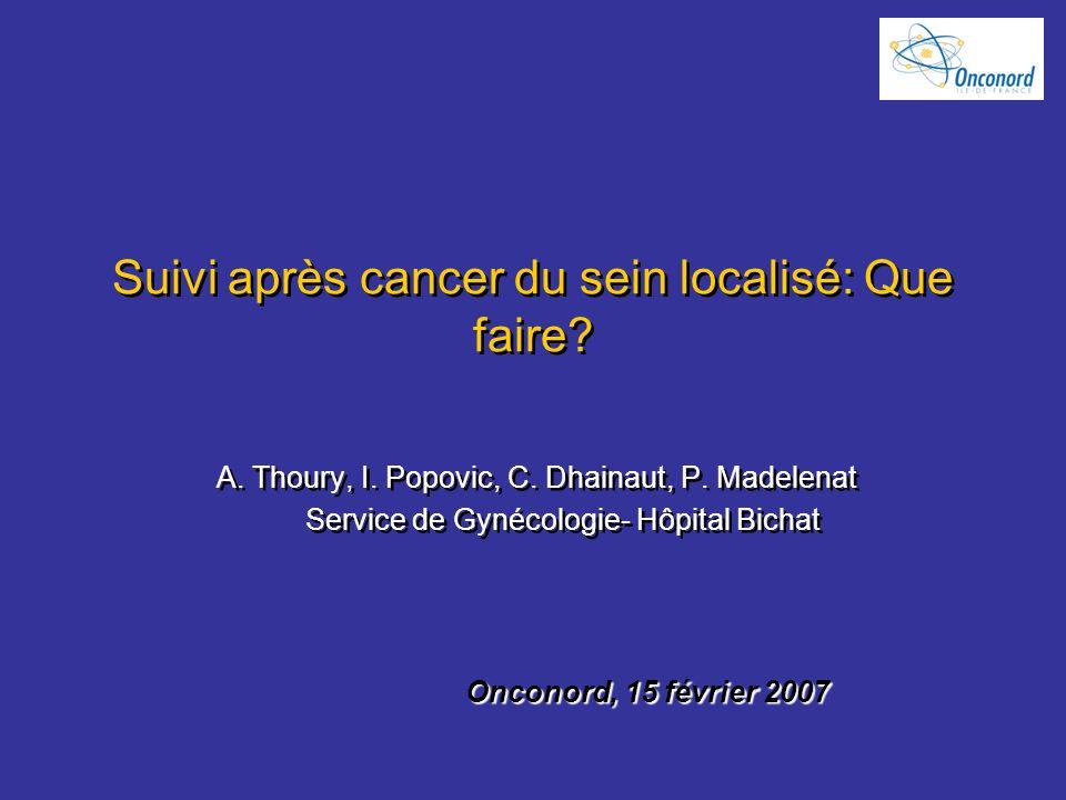 Suivi après cancer du sein localisé: Que faire? A. Thoury, I. Popovic, C. Dhainaut, P. Madelenat Service de Gynécologie- Hôpital Bichat A. Thoury, I.