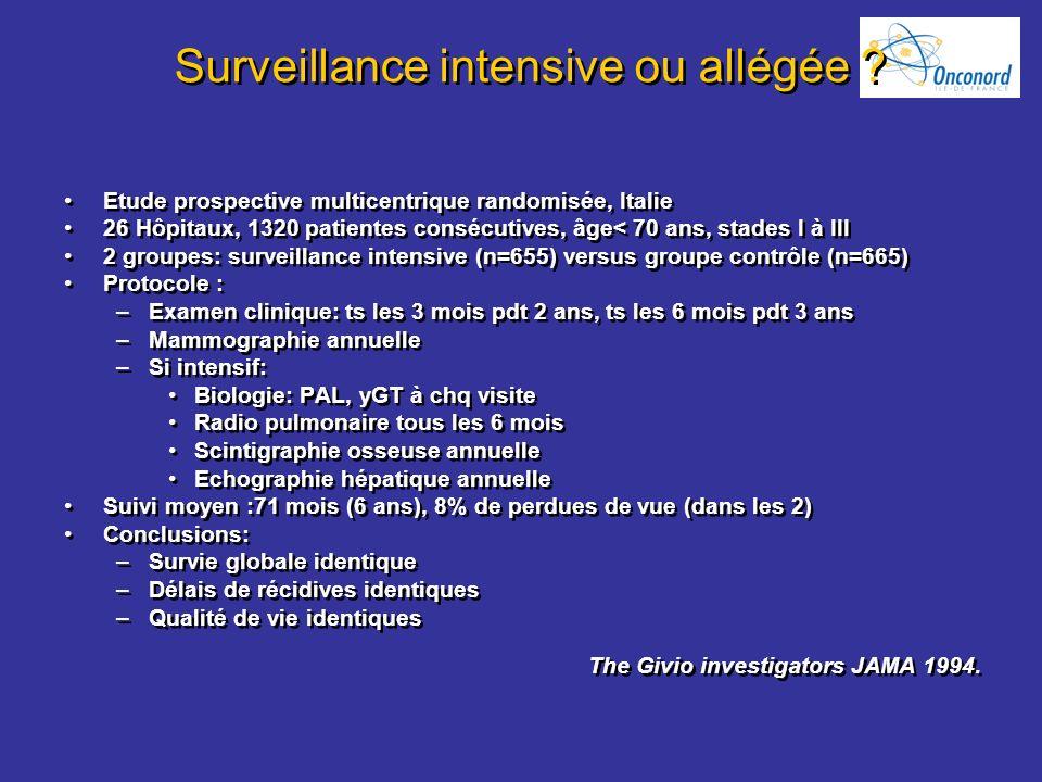 Surveillance intensive ou allégée ? Etude prospective multicentrique randomisée, Italie 26 Hôpitaux, 1320 patientes consécutives, âge< 70 ans, stades