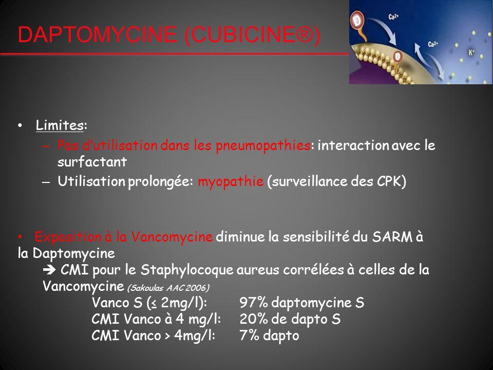 DAPTOMYCINE (CUBICINE®) Limites: – Pas dutilisation dans les pneumopathies: interaction avec le surfactant – Utilisation prolongée: myopathie (surveil