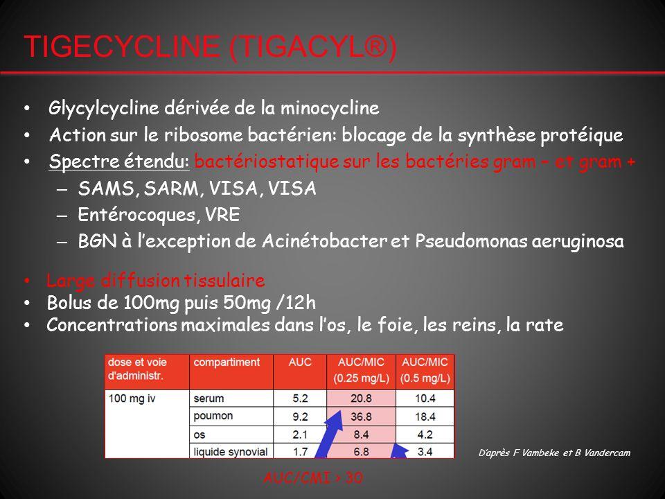 TIGECYCLINE (TIGACYL®) Glycylcycline dérivée de la minocycline Action sur le ribosome bactérien: blocage de la synthèse protéique Spectre étendu: bact