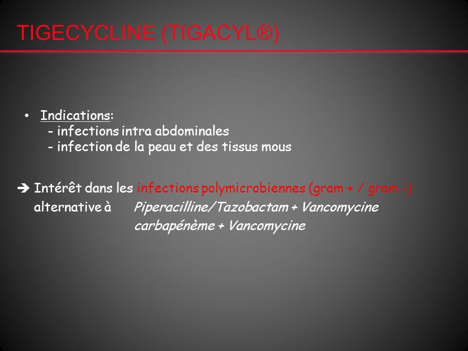TIGECYCLINE (TIGACYL®) Indications: - infections intra abdominales - infection de la peau et des tissus mous Intérêt dans les infections polymicrobien