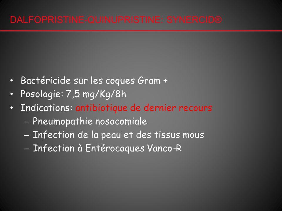 DALFOPRISTINE-QUINUPRISTINE: SYNERCID® Bactéricide sur les coques Gram + Posologie: 7,5 mg/Kg/8h Indications: antibiotique de dernier recours – Pneumo