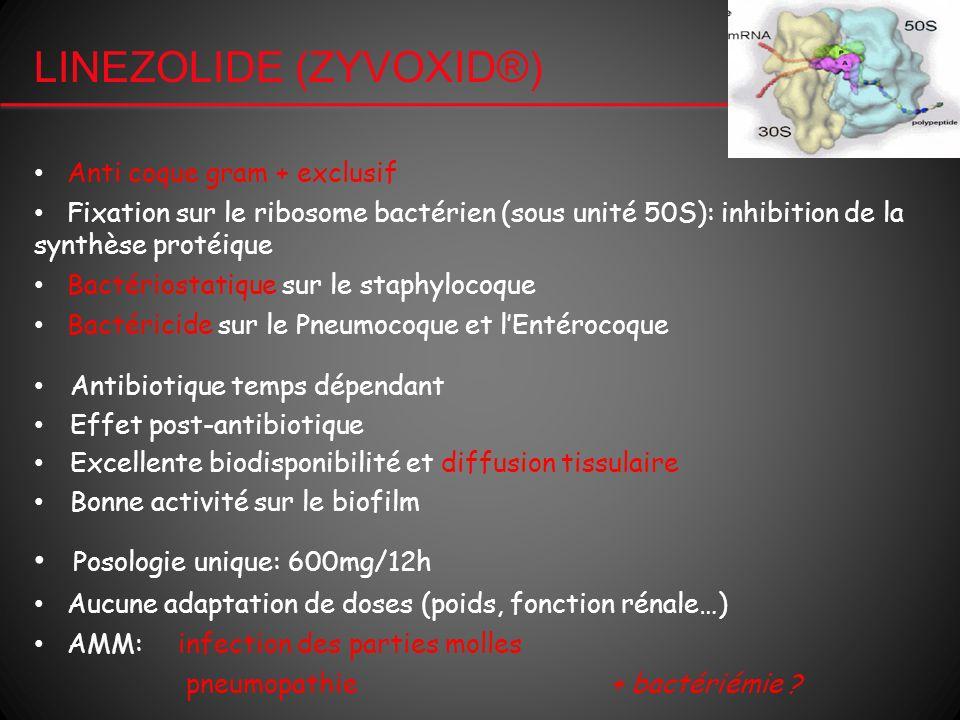 LINEZOLIDE (ZYVOXID®) Antibiotique temps dépendant Effet post-antibiotique Excellente biodisponibilité et diffusion tissulaire Bonne activité sur le b
