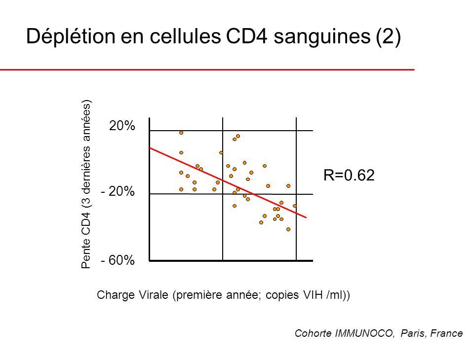 Déplétion en cellules CD4 sanguines (2) R=0.62 Pente CD4 (3 dernières années) 20% - 20% - 60% Charge Virale (première année; copies VIH /ml)) Cohorte