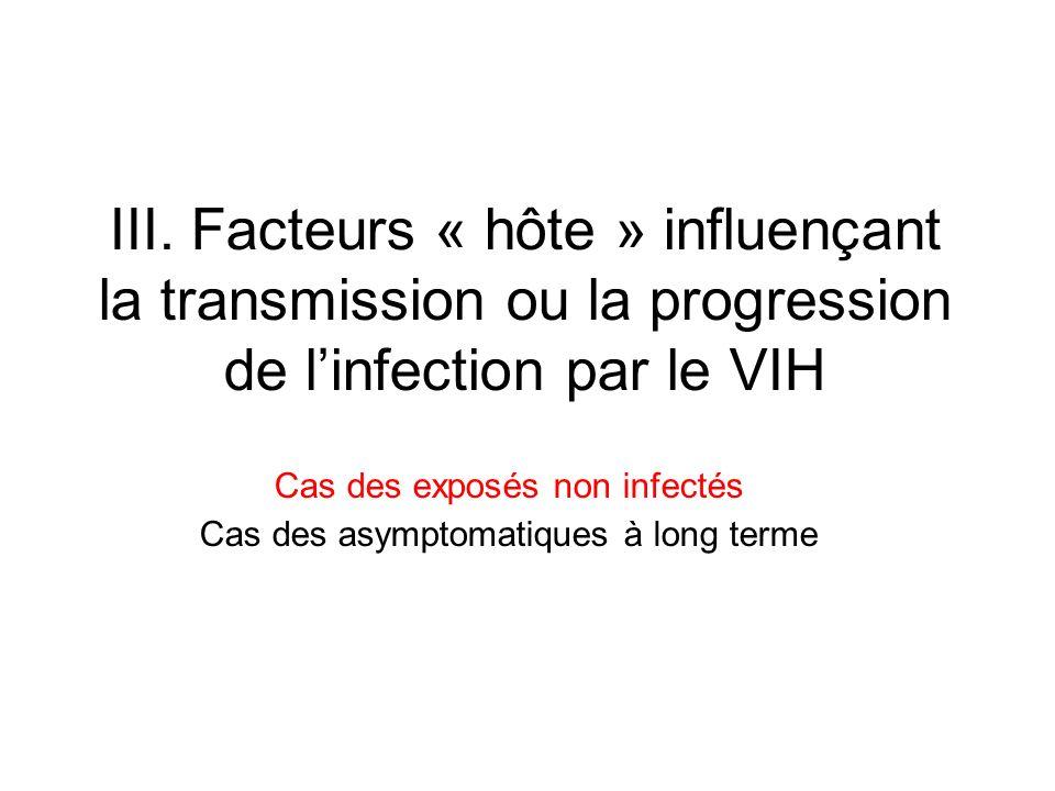 III. Facteurs « hôte » influençant la transmission ou la progression de linfection par le VIH Cas des exposés non infectés Cas des asymptomatiques à l