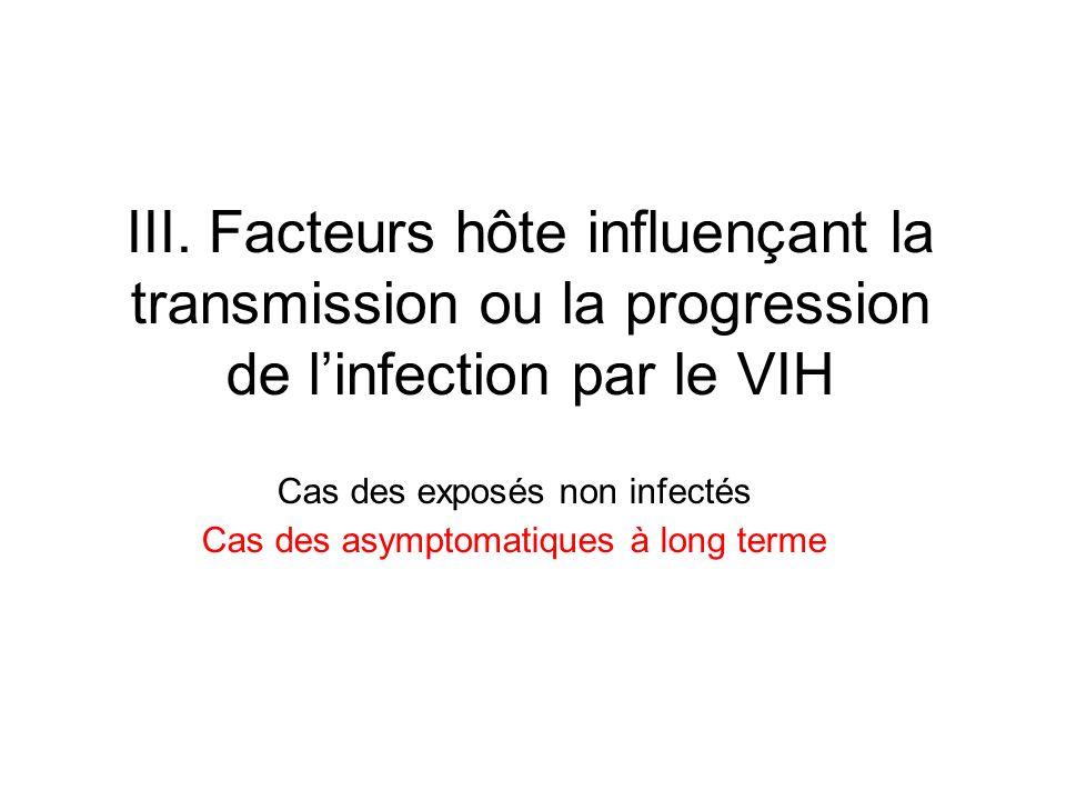 III. Facteurs hôte influençant la transmission ou la progression de linfection par le VIH Cas des exposés non infectés Cas des asymptomatiques à long