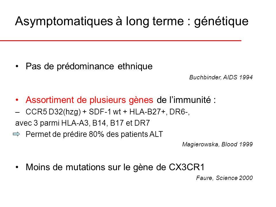 Asymptomatiques à long terme : génétique Pas de prédominance ethnique Buchbinder, AIDS 1994 Assortiment de plusieurs gènes de limmunité : –CCR5 D32(hz