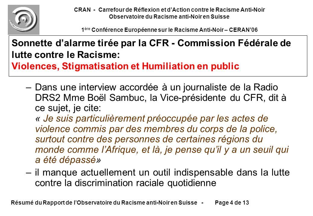 CRAN - Carrefour de Réflexion et dAction contre le Racisme Anti-Noir Observatoire du Racisme anti-Noir en Suisse 1 ère Conférence Européenne sur le Racisme Anti-Noir – CERAN06 Résumé du Rapport de lObservatoire du Racisme anti-Noir en Suisse - Page 4 de 13 –Dans une interview accordée à un journaliste de la Radio DRS2 Mme Boël Sambuc, la Vice-présidente du CFR, dit à ce sujet, je cite: « Je suis particulièrement préoccupée par les actes de violence commis par des membres du corps de la police, surtout contre des personnes de certaines régions du monde comme lAfrique, et là, je pense quil y a un seuil qui a été dépassé» –il manque actuellement un outil indispensable dans la lutte contre la discrimination raciale quotidienne Sonnette dalarme tirée par la CFR - Commission Fédérale de lutte contre le Racisme: Violences, Stigmatisation et Humiliation en public