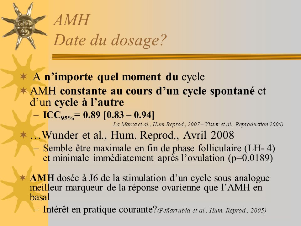 AMH Date du dosage? A nimporte quel moment du cycle AMH constante au cours dun cycle spontané et dun cycle à lautre –ICC 95% = 0.89 [0.83 – 0.94] La M
