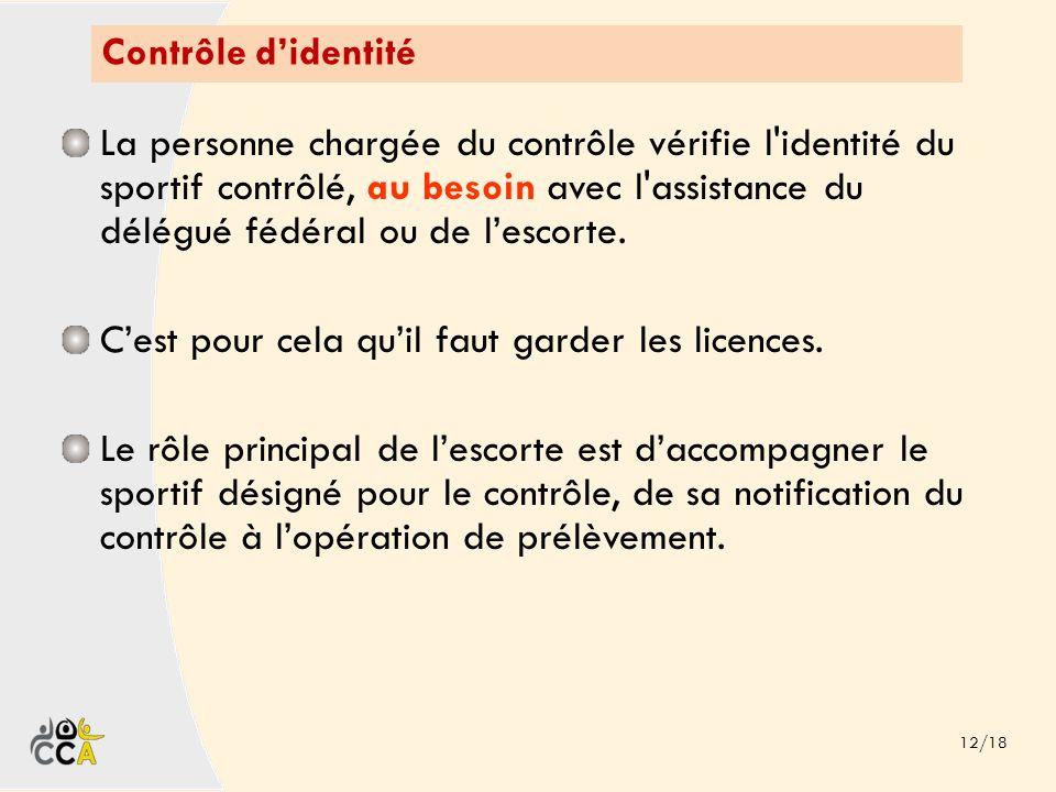 Contrôle didentité 12/18 La personne chargée du contrôle vérifie l'identité du sportif contrôlé, au besoin avec l'assistance du délégué fédéral ou de