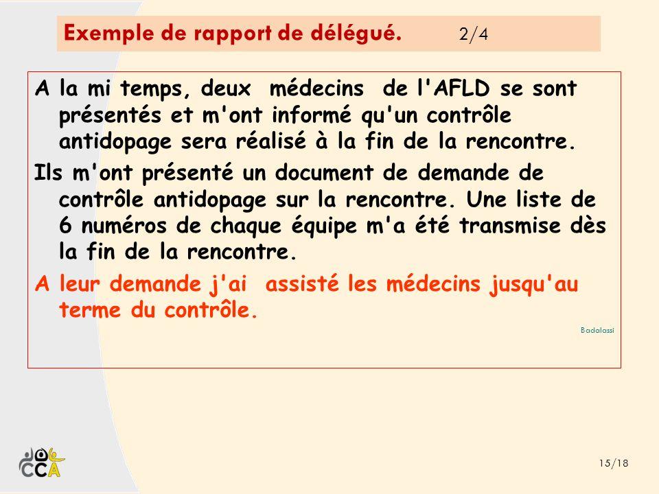Exemple de rapport de délégué. 2/4 15/18 A la mi temps, deux médecins de l'AFLD se sont présentés et m'ont informé qu'un contrôle antidopage sera réal