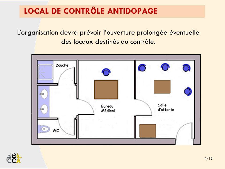 LOCAL DE CONTRÔLE ANTIDOPAGE 9/18 Lorganisation devra prévoir louverture prolongée éventuelle des locaux destinés au contrôle.