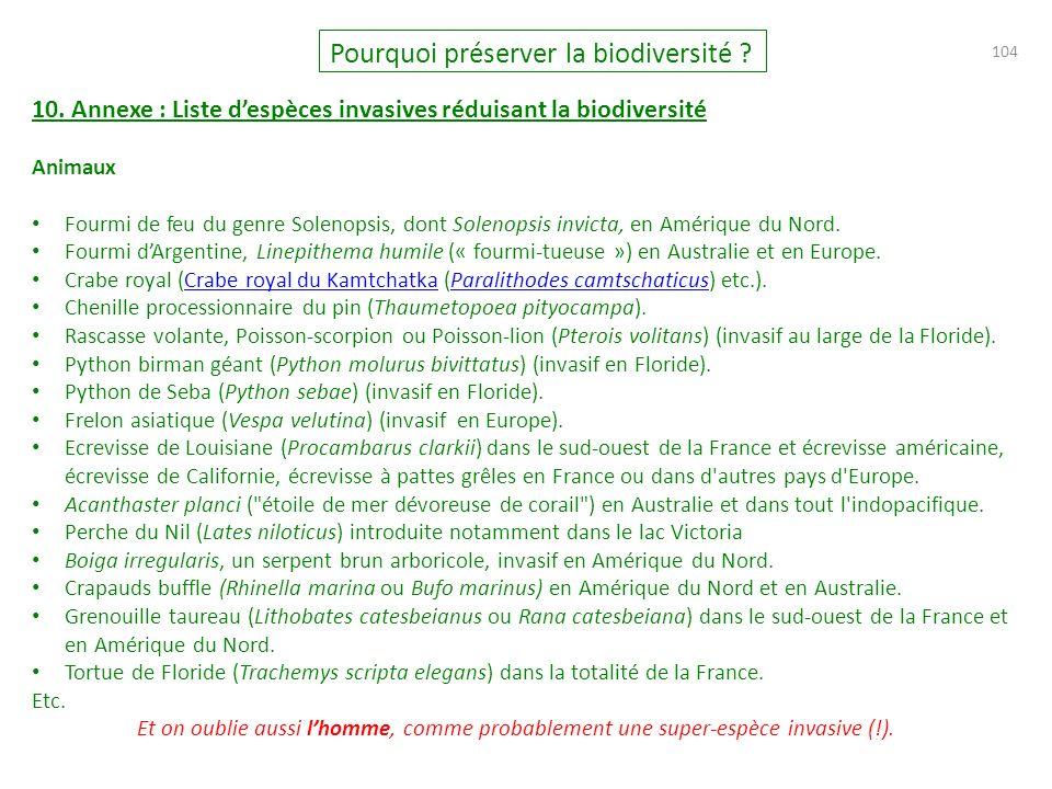 104 Pourquoi préserver la biodiversité .10.