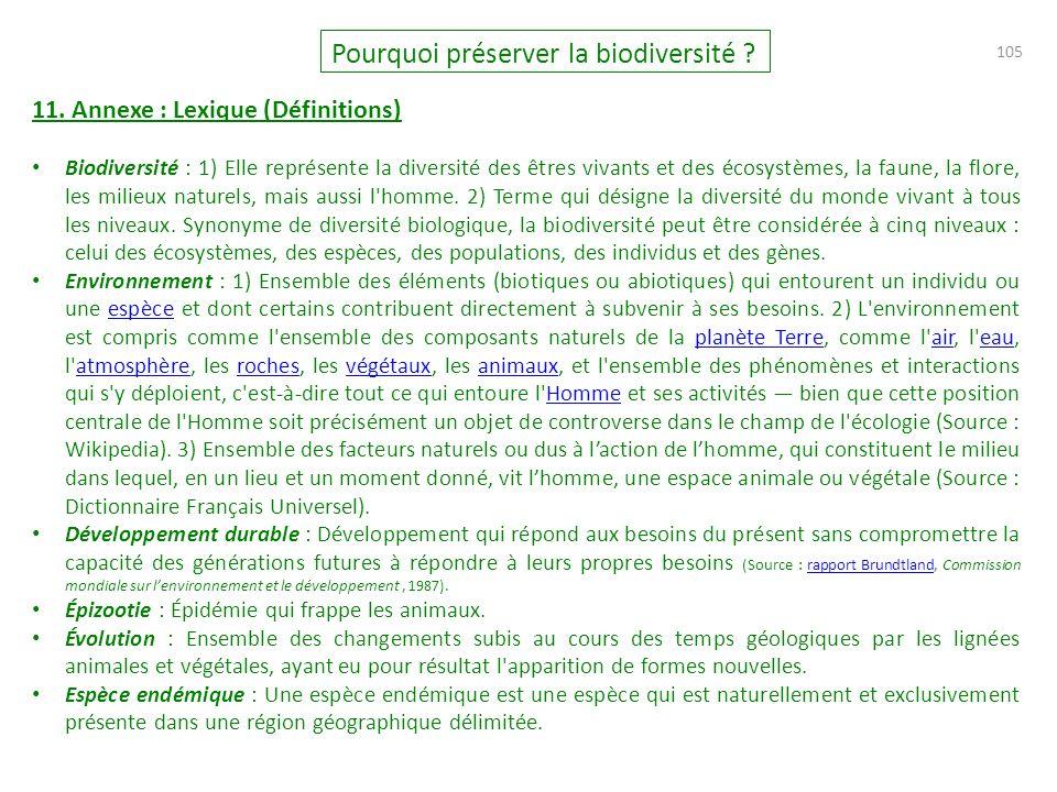 105 Pourquoi préserver la biodiversité .11.