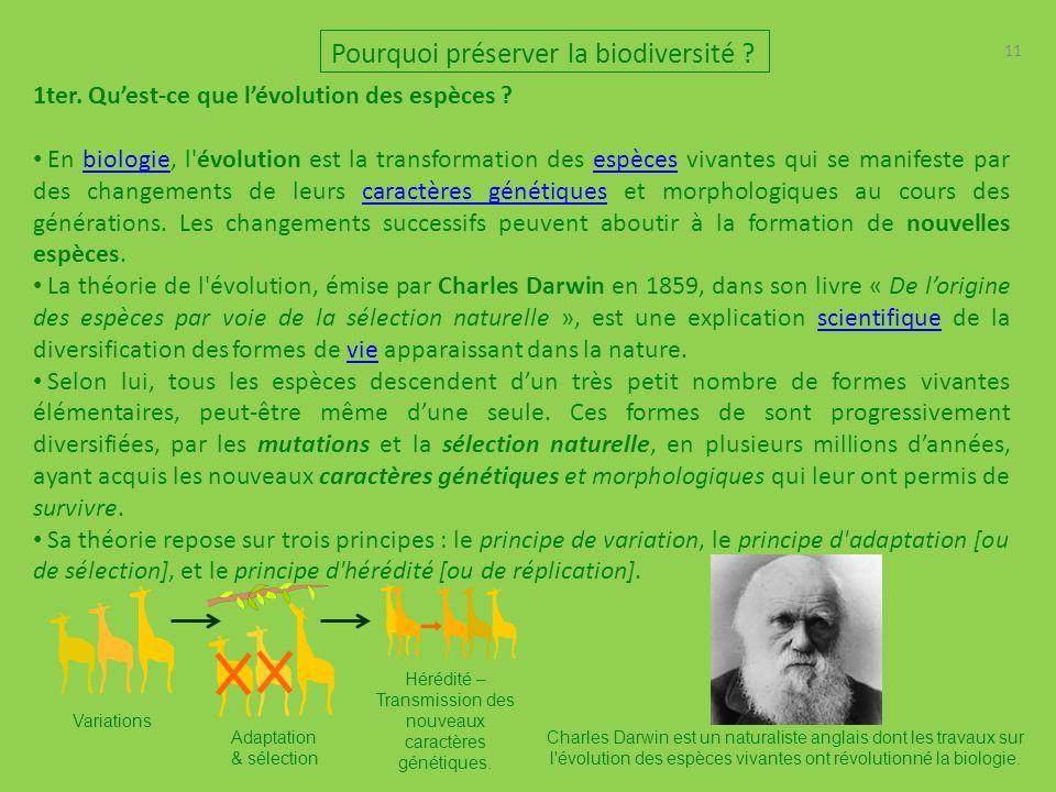 11 Pourquoi préserver la biodiversité .1ter. Quest-ce que lévolution des espèces .