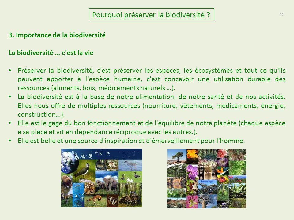 15 Pourquoi préserver la biodiversité .3. Importance de la biodiversité La biodiversité...