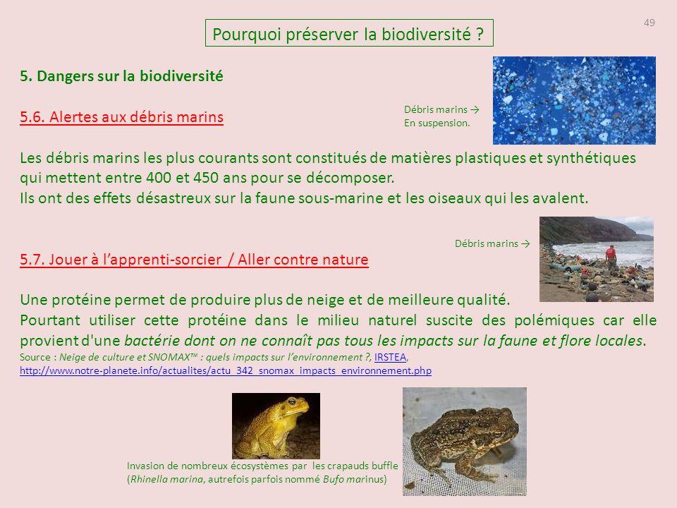 49 5.Dangers sur la biodiversité 5.6.