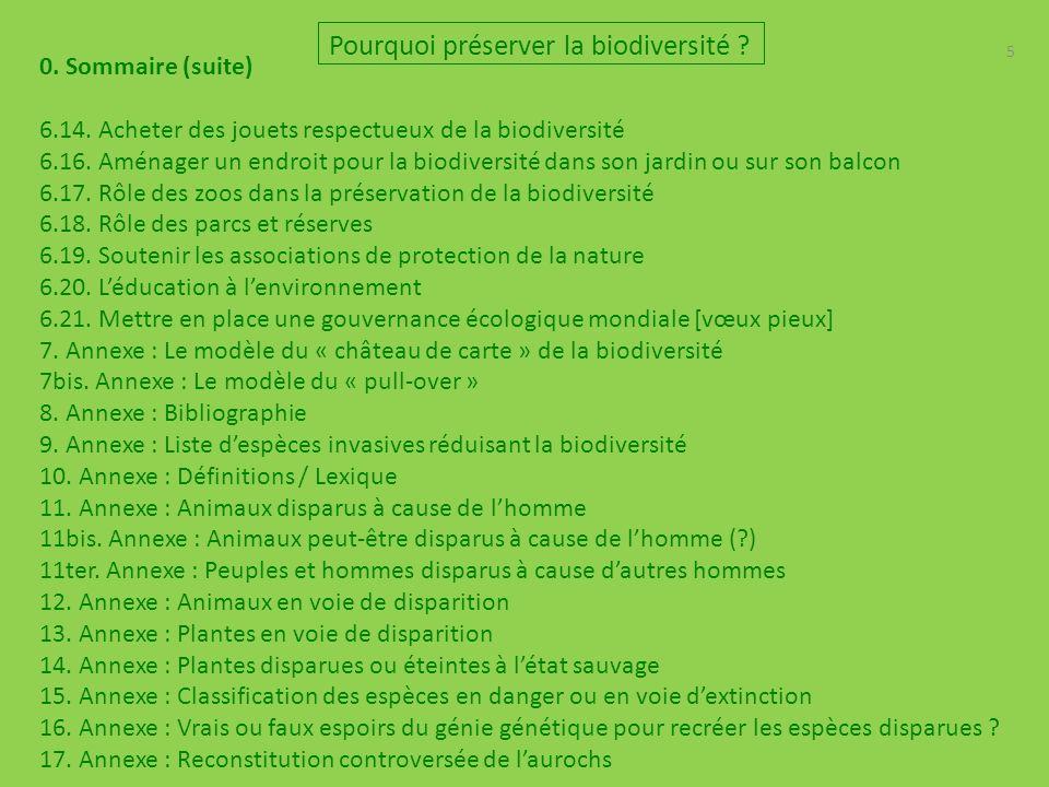 5 0.Sommaire (suite) 6.14. Acheter des jouets respectueux de la biodiversité 6.16.
