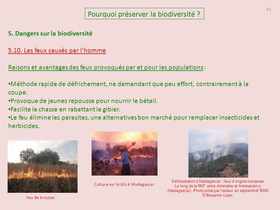54 5.Dangers sur la biodiversité 5.10.