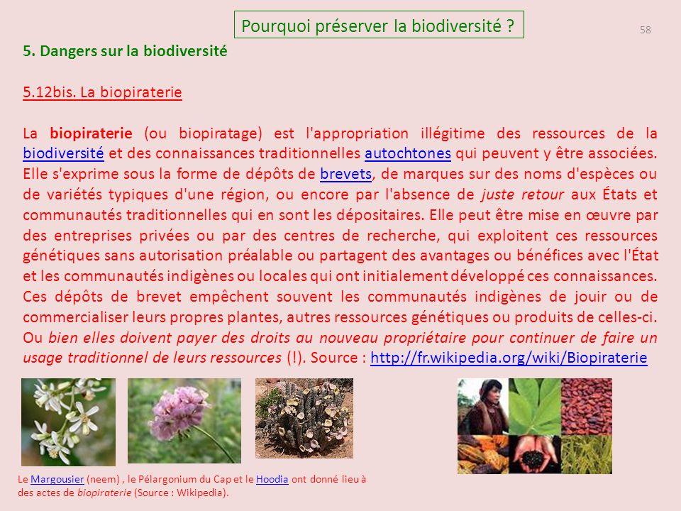 58 Pourquoi préserver la biodiversité .5. Dangers sur la biodiversité 5.12bis.