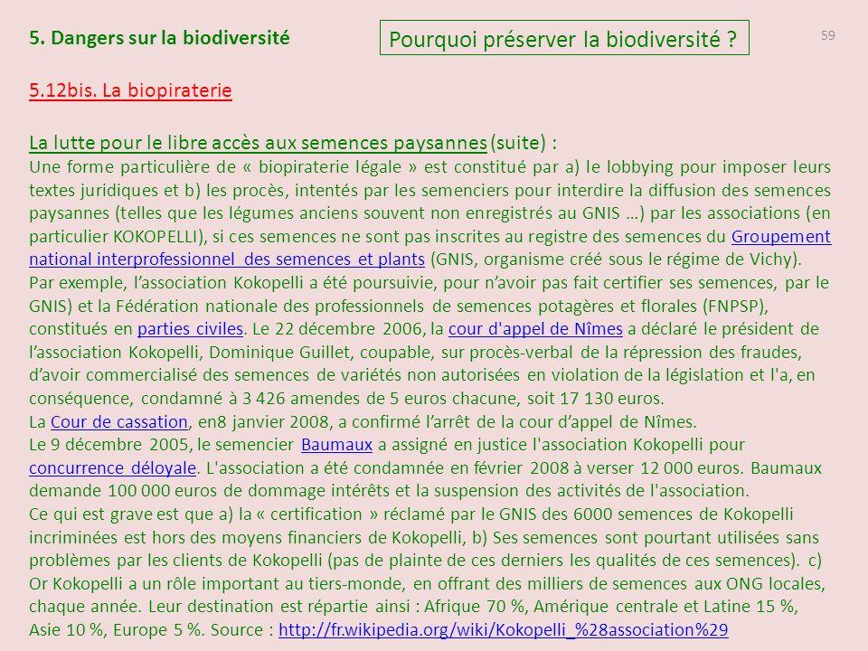 59 Pourquoi préserver la biodiversité .5. Dangers sur la biodiversité 5.12bis.