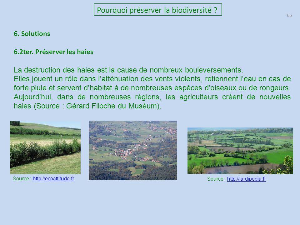 66 Pourquoi préserver la biodiversité .6. Solutions 6.2ter.
