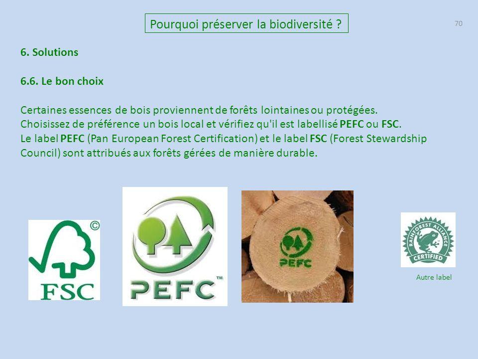 70 Pourquoi préserver la biodiversité .6. Solutions 6.6.