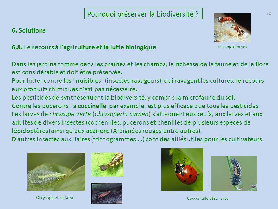 72 Pourquoi préserver la biodiversité .6. Solutions 6.8.