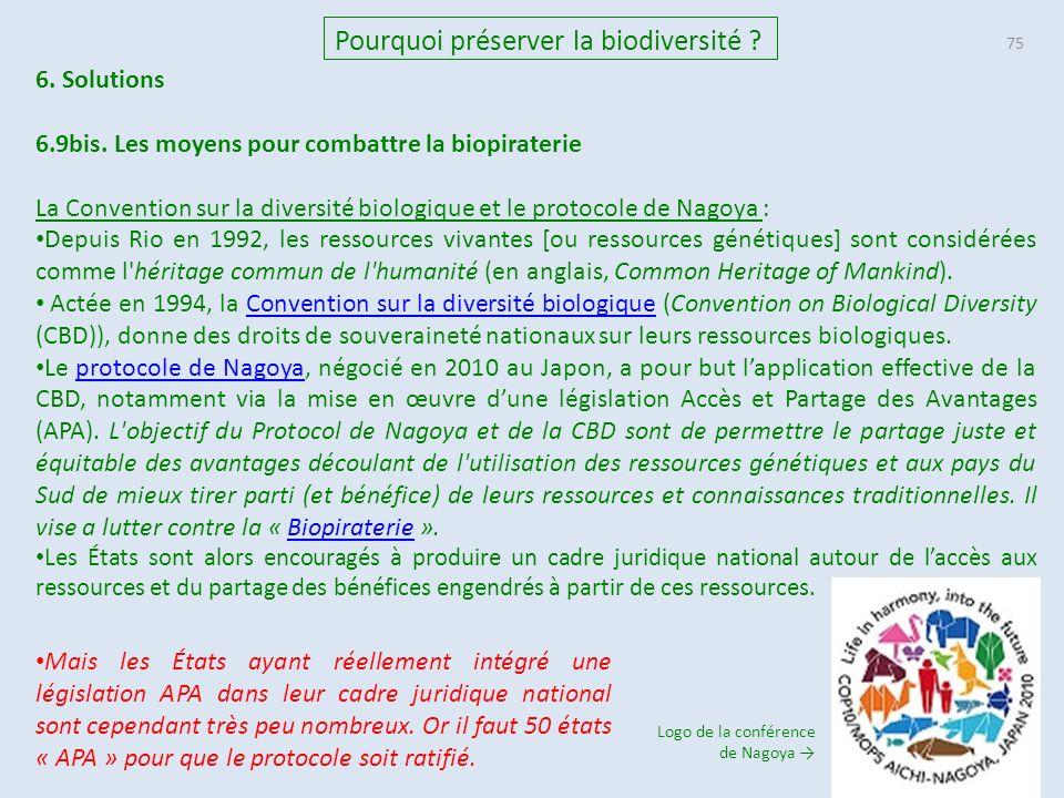 75 Pourquoi préserver la biodiversité .6. Solutions 6.9bis.