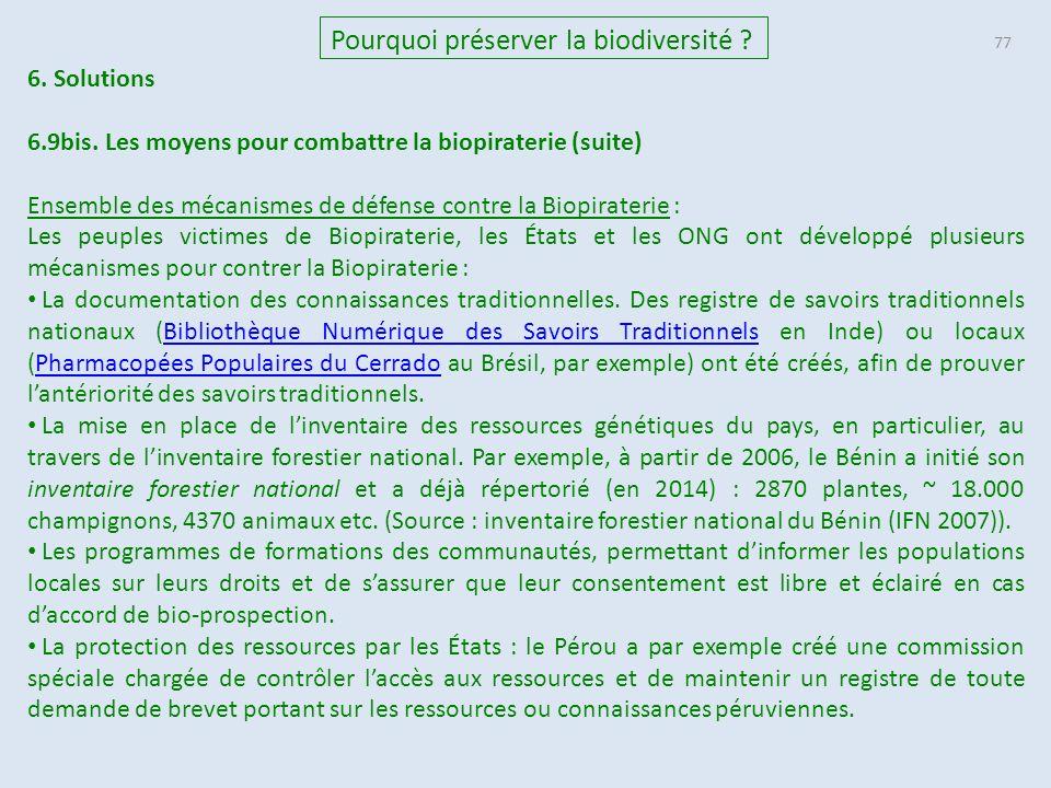 77 Pourquoi préserver la biodiversité .6. Solutions 6.9bis.