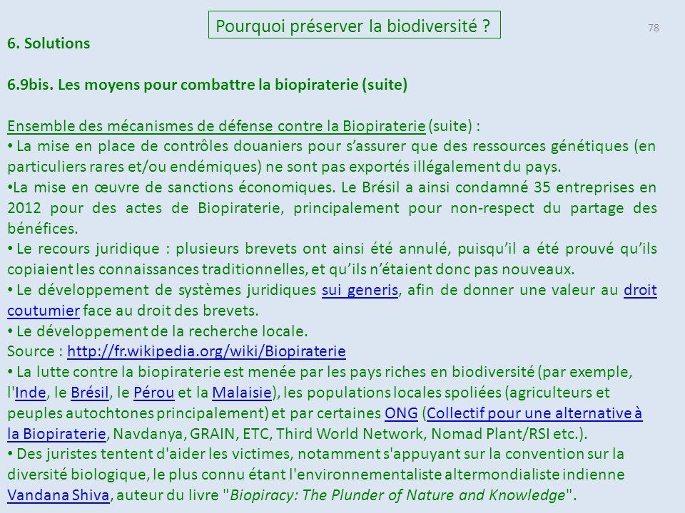 78 Pourquoi préserver la biodiversité .6. Solutions 6.9bis.