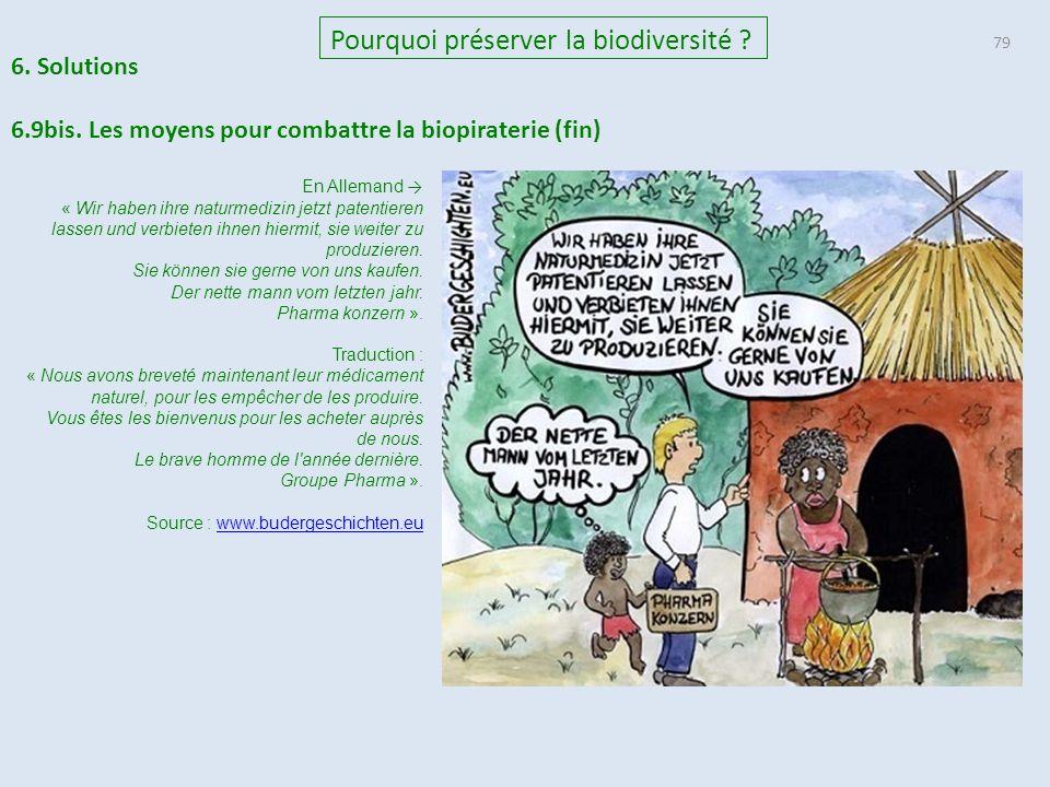 79 Pourquoi préserver la biodiversité .6. Solutions 6.9bis.