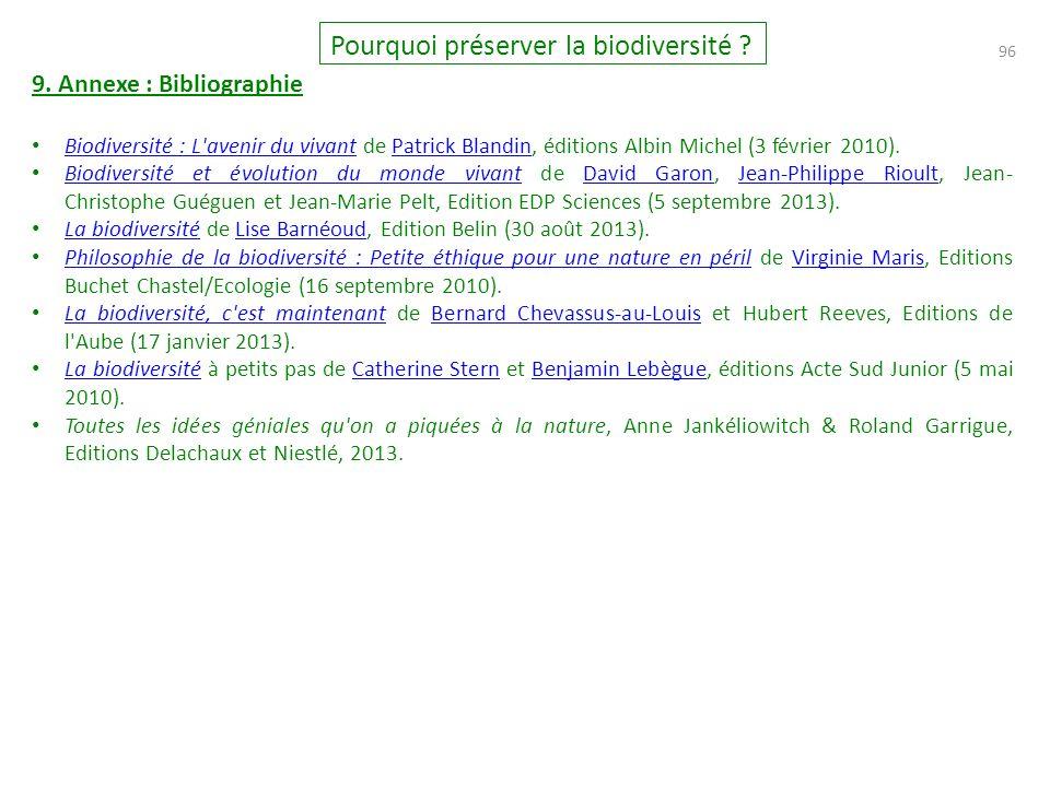 96 Pourquoi préserver la biodiversité .9.