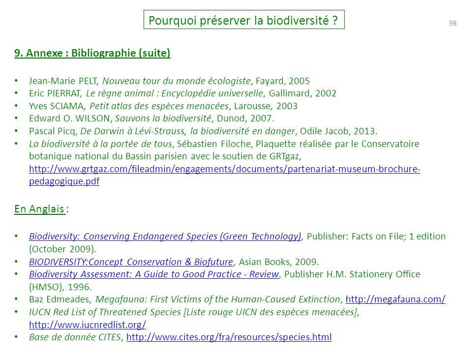 98 Pourquoi préserver la biodiversité .9.