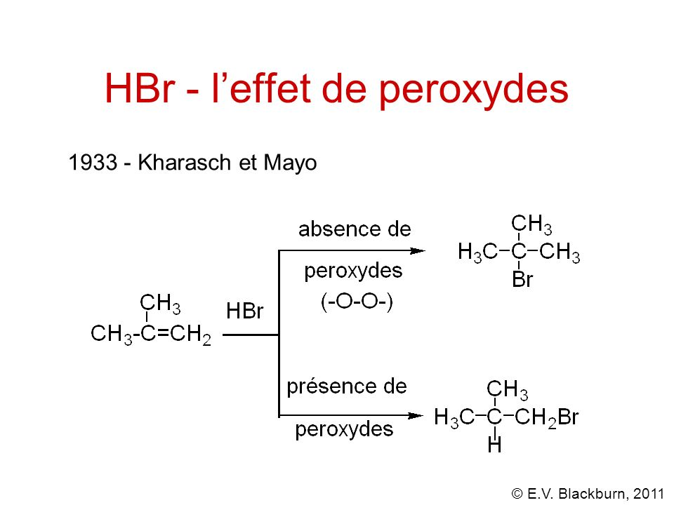 © E.V. Blackburn, 2011 HBr - leffet de peroxydes 1933 - Kharasch et Mayo