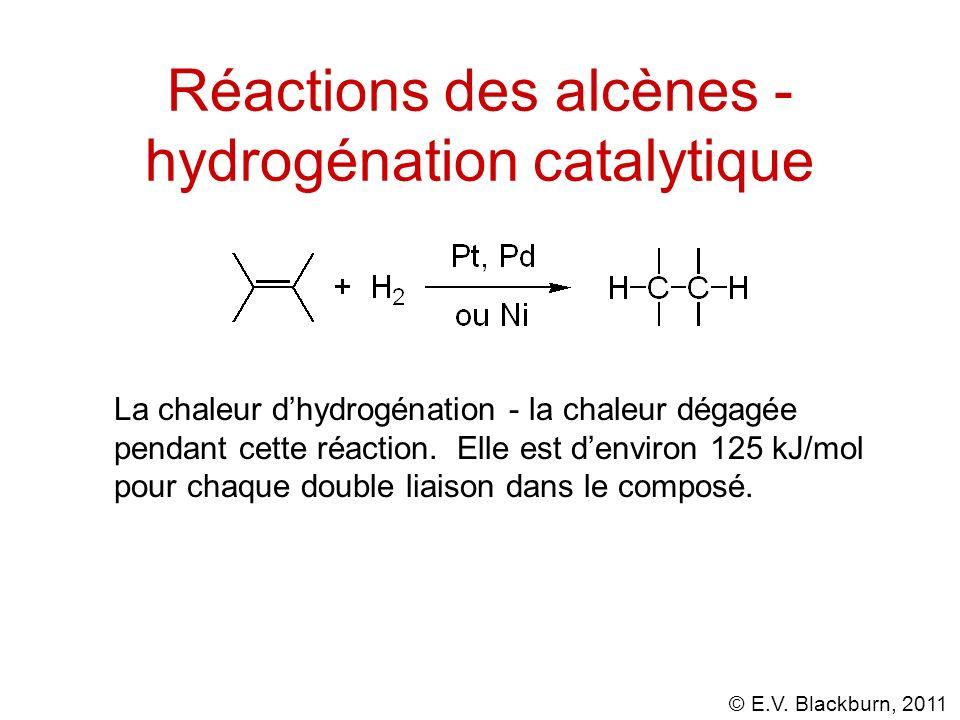 © E.V. Blackburn, 2011 Réactions des alcènes - hydrogénation catalytique La chaleur dhydrogénation - la chaleur dégagée pendant cette réaction. Elle e