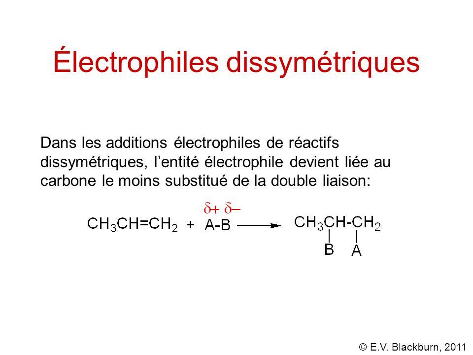 © E.V. Blackburn, 2011 Électrophiles dissymétriques Dans les additions électrophiles de réactifs dissymétriques, lentité électrophile devient liée au