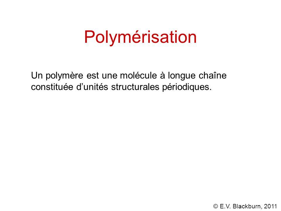 © E.V. Blackburn, 2011 Polymérisation Un polymère est une molécule à longue chaîne constituée dunités structurales périodiques.