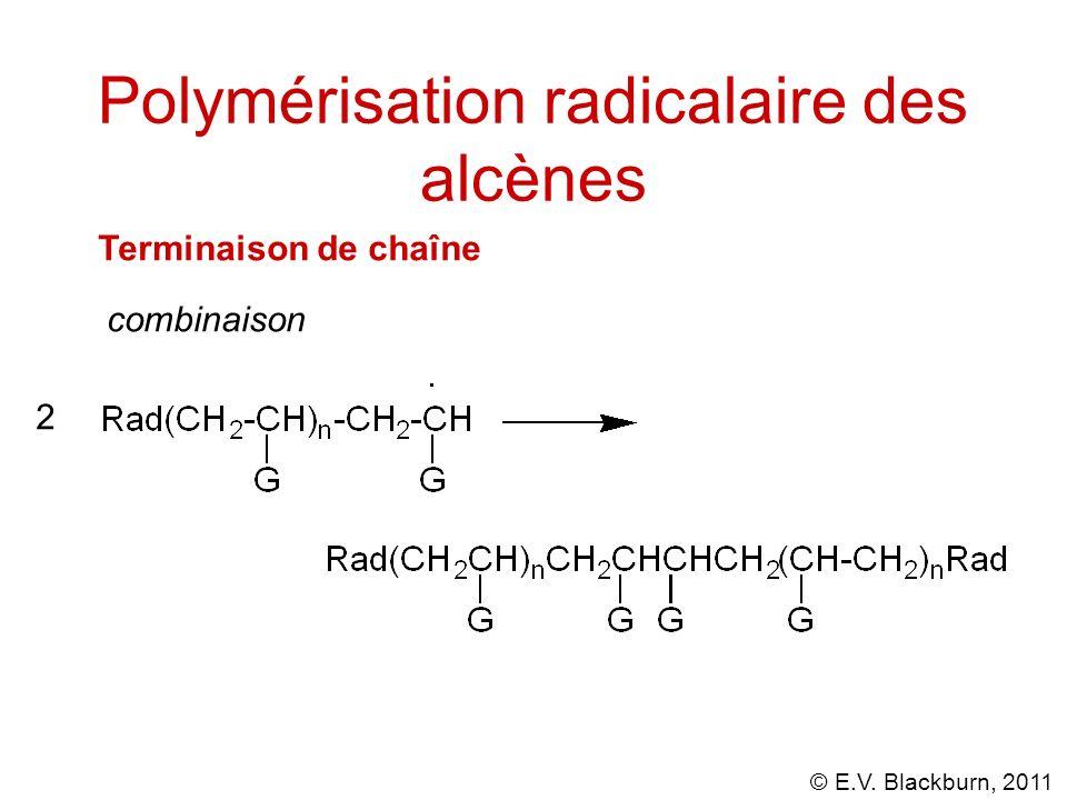 © E.V. Blackburn, 2011 Polymérisation radicalaire des alcènes Terminaison de chaîne combinaison 2