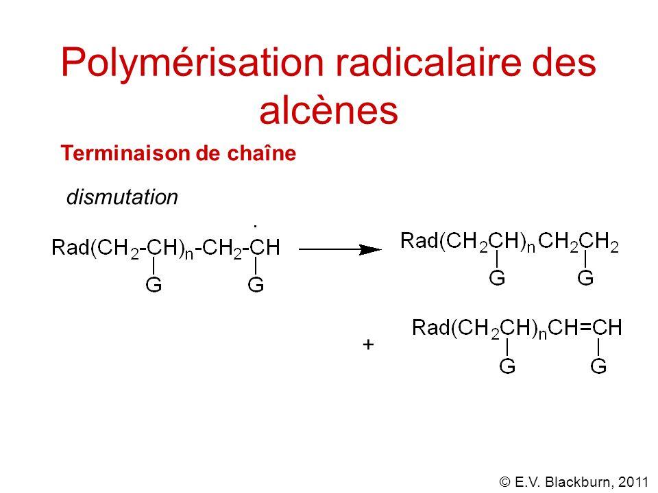 © E.V. Blackburn, 2011 Polymérisation radicalaire des alcènes Terminaison de chaîne dismutation +
