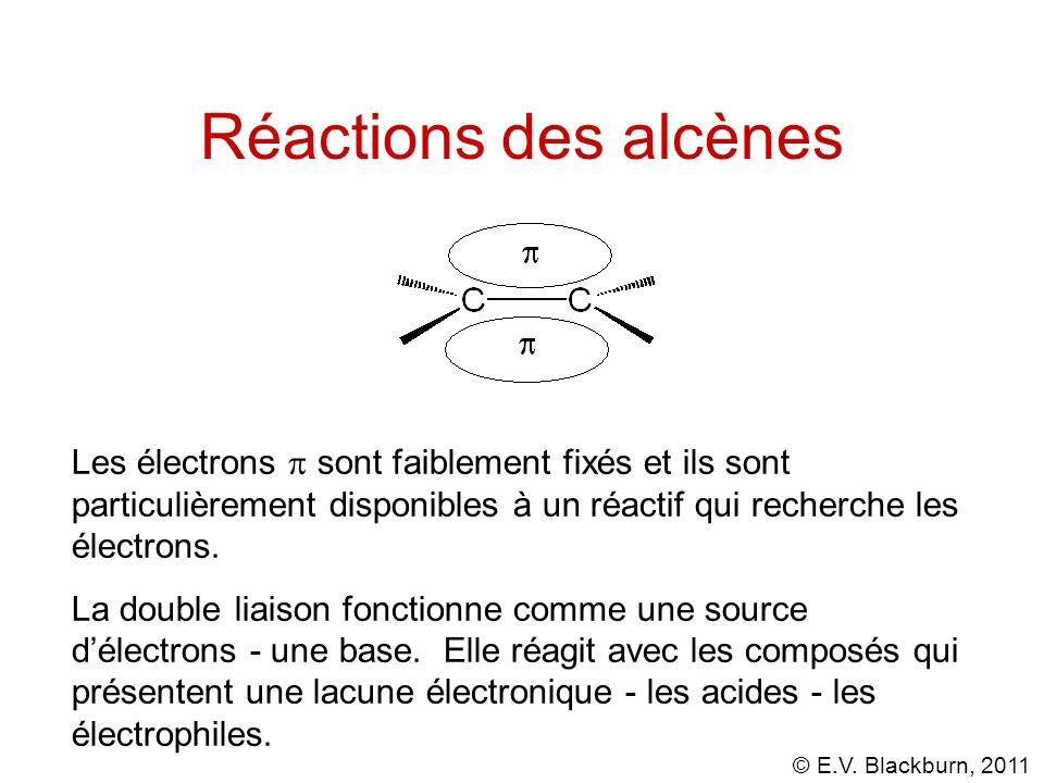 © E.V. Blackburn, 2011 Les électrons sont faiblement fixés et ils sont particulièrement disponibles à un réactif qui recherche les électrons. La doubl