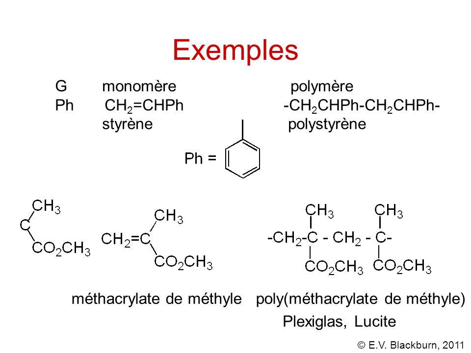© E.V. Blackburn, 2011 Exemples Gmonomèrepolymère Ph CH 2 =CHPh -CH 2 CHPh-CH 2 CHPh- styrène polystyrène méthacrylate de méthylepoly(méthacrylate de