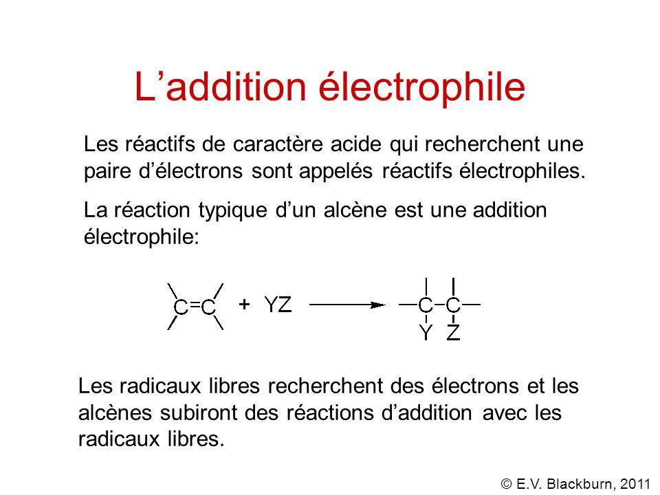 © E.V. Blackburn, 2011 Laddition électrophile La réaction typique dun alcène est une addition électrophile: Les radicaux libres recherchent des électr