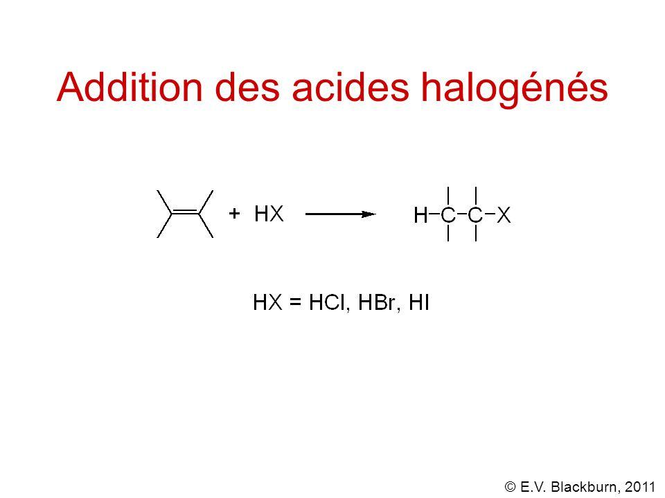 © E.V. Blackburn, 2011 Addition des acides halogénés le produit est le 2-chloropropane