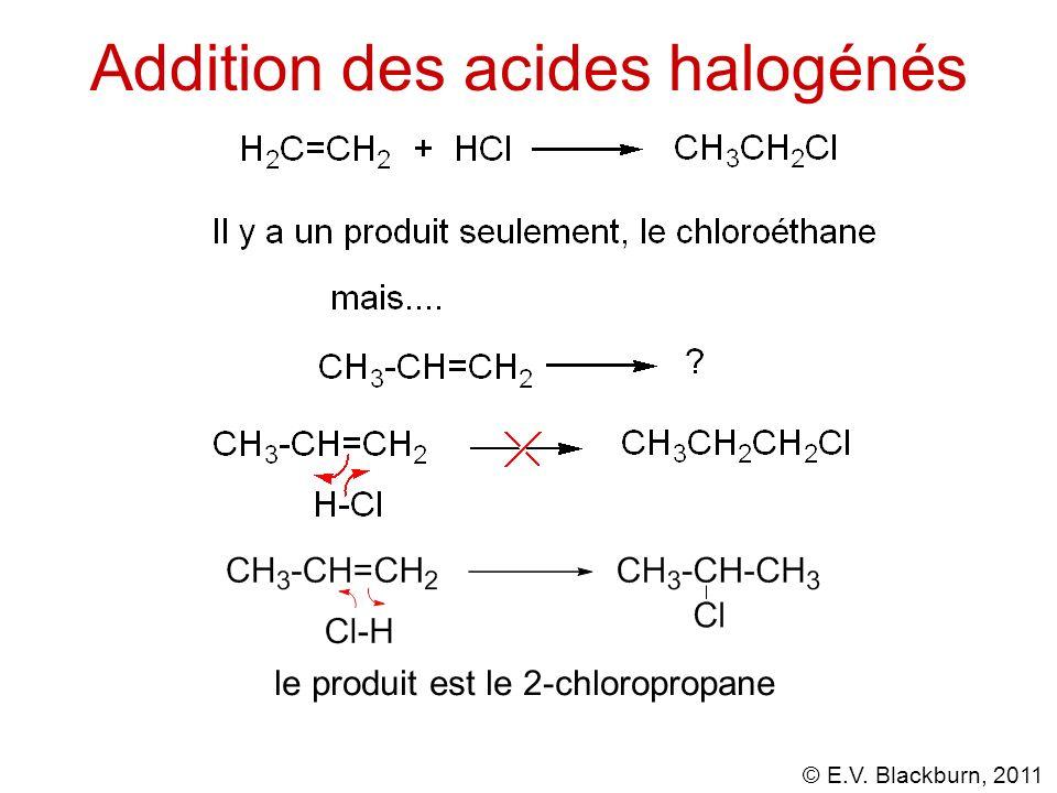 © E.V. Blackburn, 2011 Addition des acides halogénhydriques aux alcynes Pourquoi?