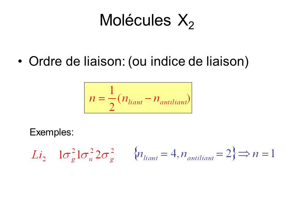Molécules X 2 Ordre de liaison: (ou indice de liaison) Exemples: