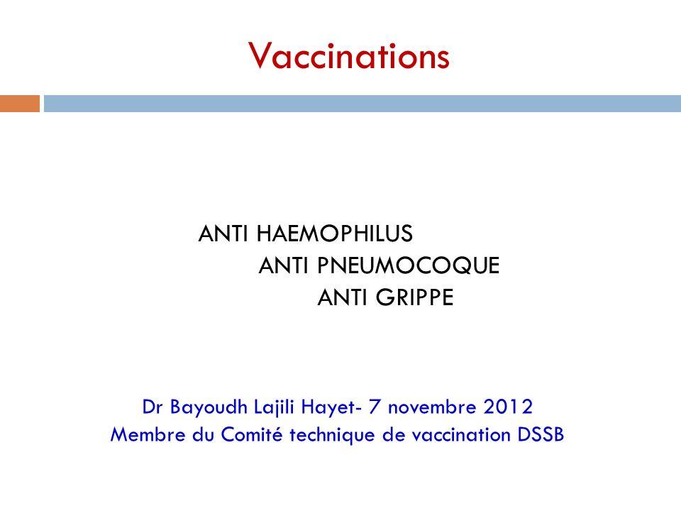 Vaccinations ANTI HAEMOPHILUS ANTI PNEUMOCOQUE ANTI GRIPPE Dr Bayoudh Lajili Hayet- 7 novembre 2012 Membre du Comité technique de vaccination DSSB